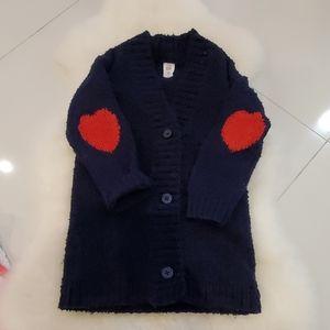 Baby gap tunic cardigan navy heart elbow 4 toddler
